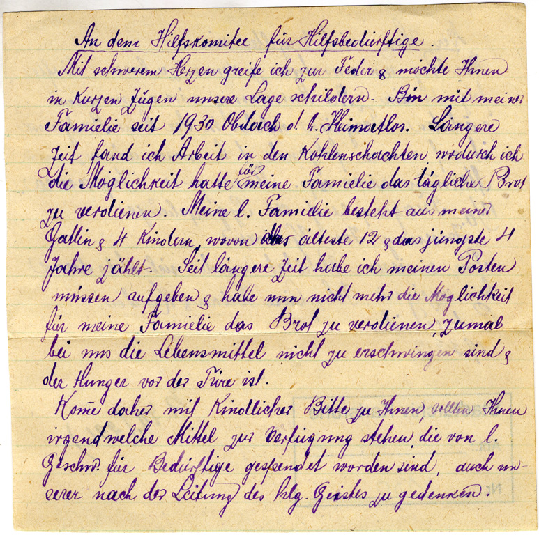 l. Num.: 130: Bittbrief von Johann Liese Kröker und Kinder Rudnerweide