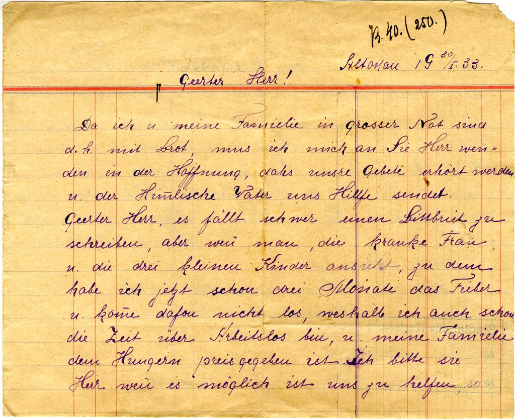 l. Num.: 133: Bittbrief von Helene u Karl Klassen. Altonau