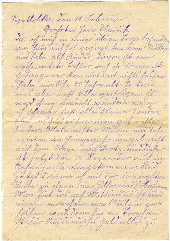 l. Num.: 23: Eintrag 23: Bittbrief von Witwe Katharina Jacob Fast aus Tige / 1933