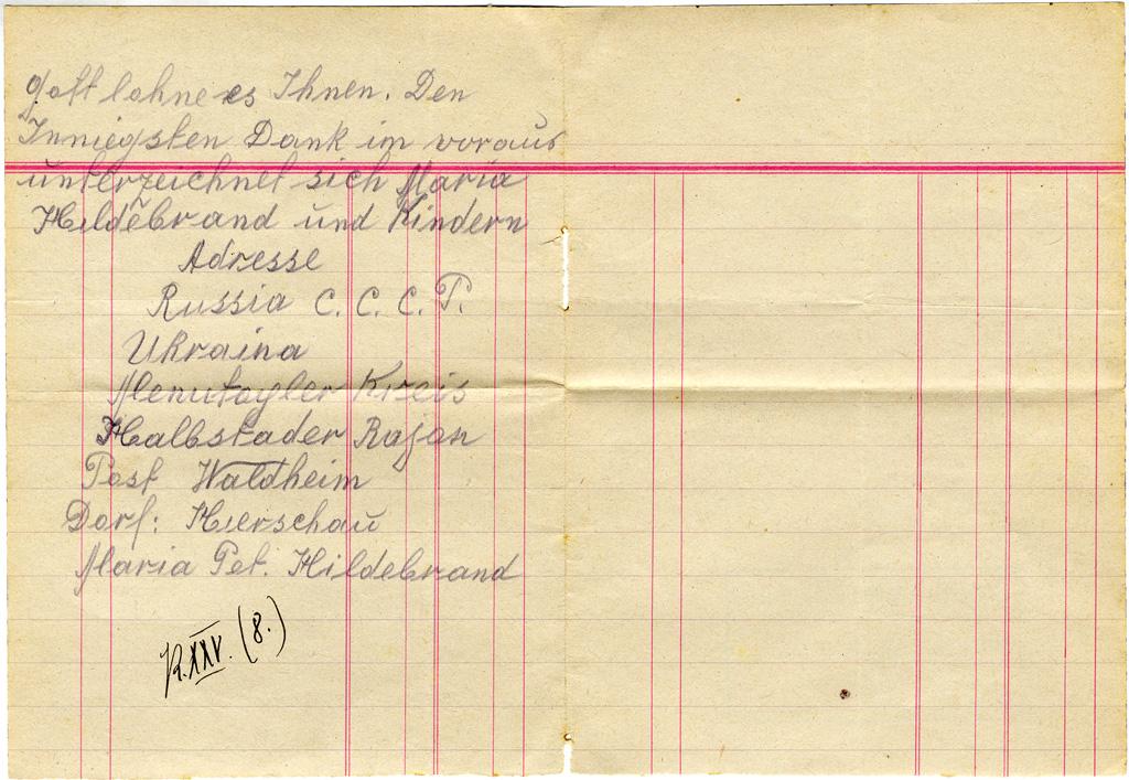 l. Num.: 8: Bittbrief von Maria Hildebrand Hierschau 13 Februar 1933